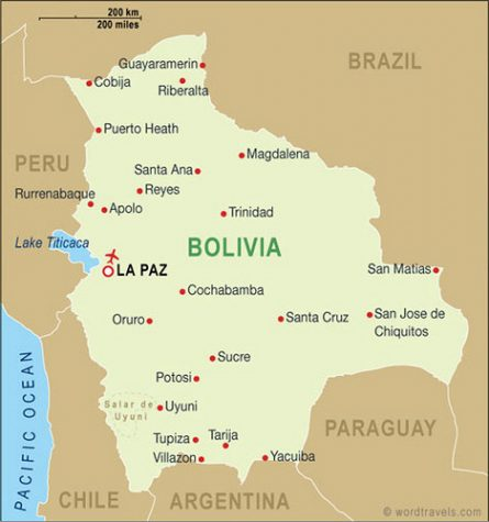 Bolivia competes with Chile for access to the Pacific.