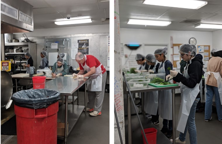 Lee's Key Club prepares meals at DC Central Kitchen.