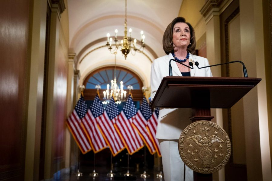 Speaker of the House Nancy Pelosi (D-CA) announces the drafting of impeachment articles against President Trump on December 5, 2019.