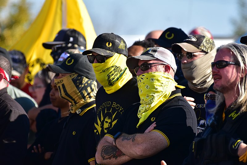 Members of Proud Boys gather at a rally in Raleigh, NC in November 2020.