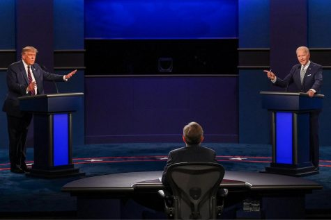 President Donald Trump and Democratic candidate Joe Biden argue with one another during the first debate on September 29 in Cleveland, Ohio.