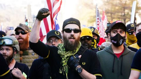 Members of the Proud Boys demonstrate their support for President Donald Trump at the Million MAGA March on Nov. 14, 2020, in Washington.